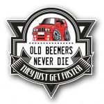 Koolart OLD BEEMERS NEVER DIE Motif For Retro Red BMW E30 3series M3 External Vinyl Car Sticker Decal Badge 100x100mm